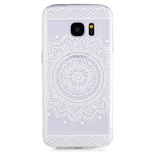 Samsung Galaxy S7 Case, KSHOP Premium Accessory Ultra Thin Transparent Clear Soft Gel TPU Silicone Case Cover Bumper Shellfor Samsung Galaxy S7-White Mandala