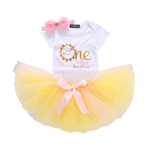 Baby Girl's 1ST Birthday Set Outfits with Smile Sun Romper + Bow Tutu Lace +3D Flower Headband (White Yellow, 9-18 M)