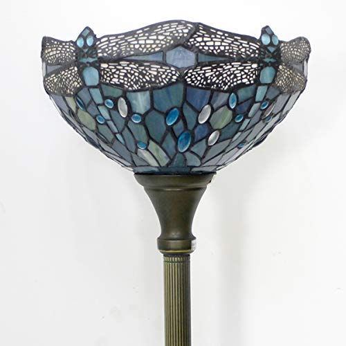 Tiffany Style Torchiere Light Floor Standing Lamp Wide 12 Tall 66 Inch Sea Blue Stained Glass Crystal Bead Dragonfly Lampshade for Living Room Bedroom Antique Table Set S147 WERFACTORY by WERFACTORY (Image #3)