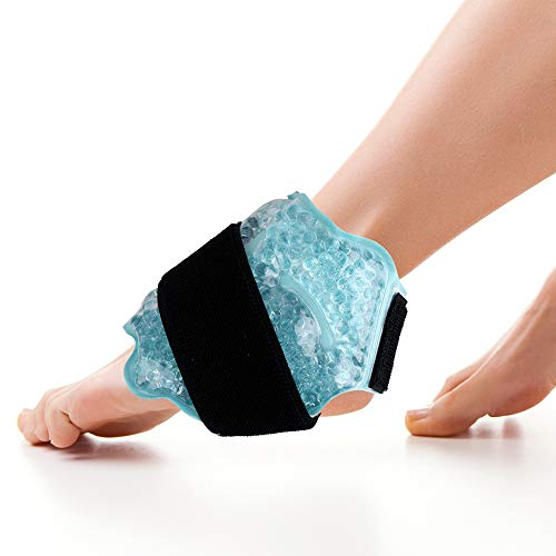 Ankle/Sport Foot Ice Therapy Wrap,Hot Cold Ice Gel Pack with Adjustable Brace for Sprained Ankles, Plantar Fasciitis, Achilles,tendonitis, and Swelling Feet,Microwaveable, Freezable and Reusable ()