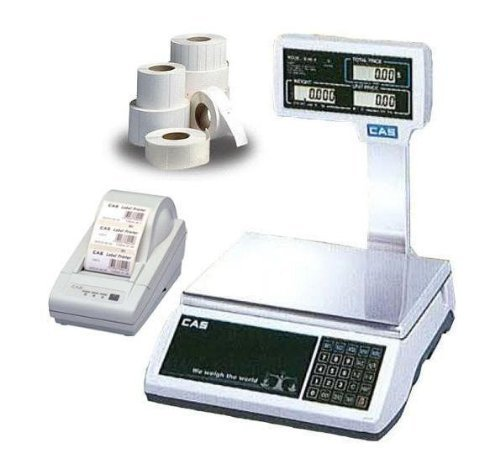 CAS S-2000 Jr / Pole Display Price computing Scale,NTEP, 60 lb X0.01 lb, DLP-50 Thermal Label Printer, 1 Case of Labels LST-8060 by CAS