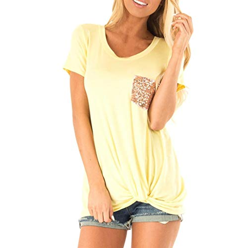 (SOWU Women Tunic Tank Tops Ladies Camouflage Print Sequin Pocket Front Knot U-Neck Casual Vest Tee Blouses Tops (Yellow, XL) )
