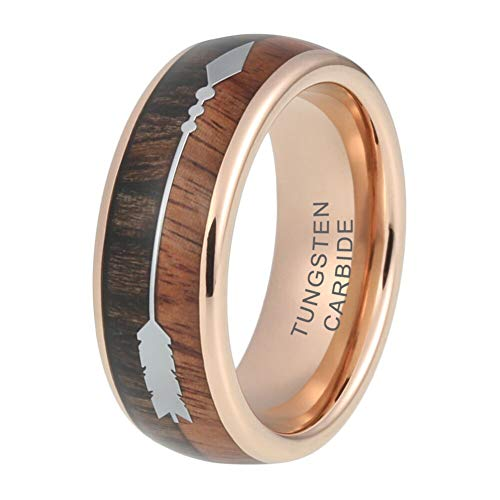 (iTungsten 8mm Mens Tungsten Carbide Ring Wedding Band Rose Gold Plated Koa Wood Arrow Inlay Comfort Fit)