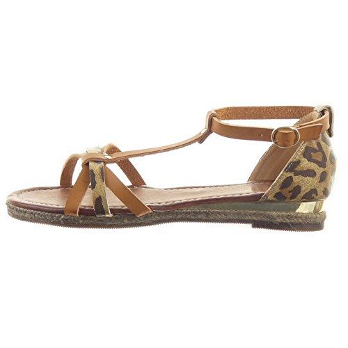 Sopily - damen Mode Schuhe Sandalen T-Spange glänzende Seil leopard - Camel