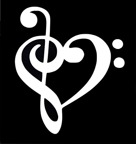 UR Impressions Treble and Bass Clef Heart Decal Vinyl Sticker Graphics for Cars Trucks SUV Walls Windows Laptop|White|6.6 X 5.5 -