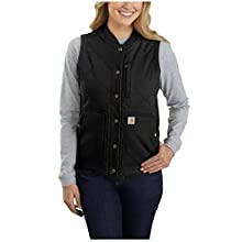Carhartt Women's Rugged Flex Relaxed Fit Canvas Insulated Rib Collar Vest, Black, X-Large
