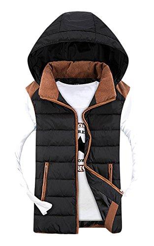 Coofandy Men's Zipper Outerwear Vest Removable Hood Sleeveless Down Jackets, Black, Small