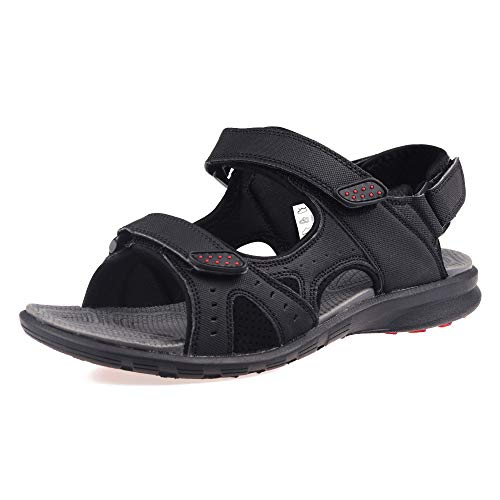 GRITION Mens Sandals Hiking Lightweight Open Toe Adjustable Walking Trekking Flat Athletic Casual Beach Wide Water Shoes Breathable Quick Dry Summer Outdoor Sports (10.5 US, Black)