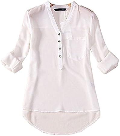 hippolo las mujeres de color rematada blusa Camisa Tela de chifón de seda Lache manga larga v-cou botón sommets small blanco: Amazon.es: Hogar