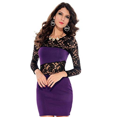 Abody Sexy Bodycon Lace Mini Dress Long Sleeve Evening Dress Stretch Clubwear