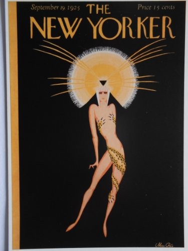 New Yorker Dresses - Jazz Age woman poses in golden headdress and minimalist leopard wrap - Artwork by Max Ree - 19 September 1925 - The New Yorker / Penguin - Postcard Print