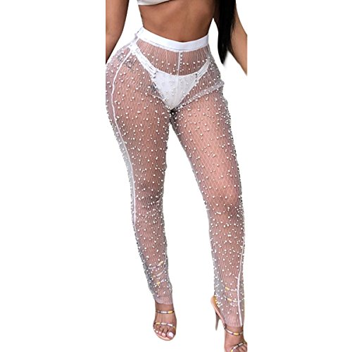 ZMLIA Womens Mesh Beaded High Waist Ankle-Length Pants See Through Sexy Trousers Size S (White)
