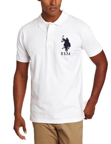 U.S. Polo Assn. Men's Solid Short Sleeve Pique Polo, White, XX-Large