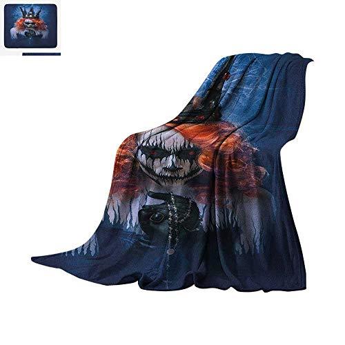 Queen Super Soft Lightweight Blanket Queen of Death Scary Body Art Halloween Evil Face Bizarre Make Up Zombie Custom Design Cozy Flannel Blanket 90