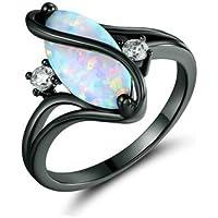Aisamaisara HOT 18K Black Gold Filled White Fire Opal White Sapphire Wedding Ring Size 6-10 (10)