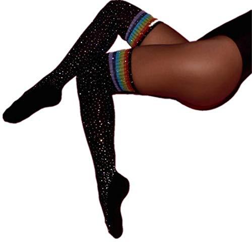 - Heyuni.1PC Women's Black Sexy Fishnet Thigh High Stockings with Diamond Shine Small Net Hot Drilling Mesh Socks