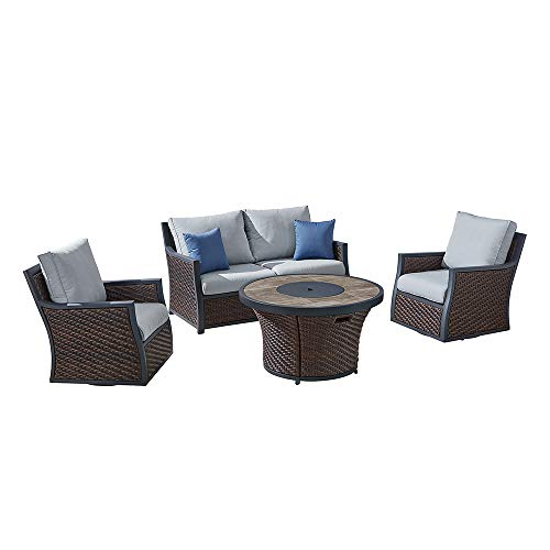 Barcelona Swivel - Ove Decors Barcelona II 4-Piece Chat Set, Dark Brown