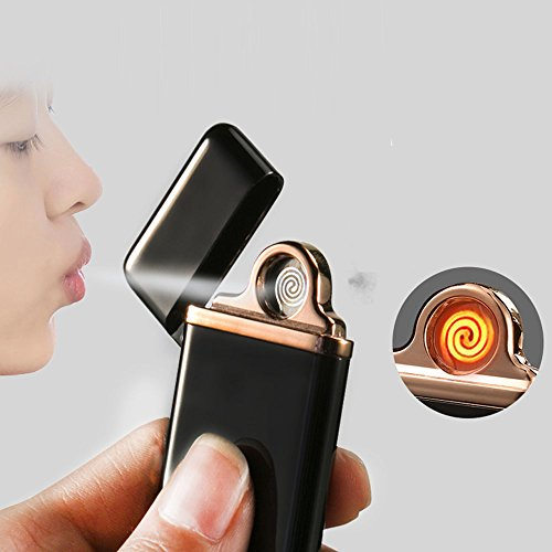 Jobon Electronic Lighter ZB-576 USB Rechargeable Same Slim with iphone6 Smart IC on 7 seconds Automatically Extinguished - Glasses Uk Smart