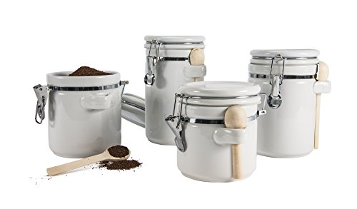 Review Anchor Hocking 4-Piece Ceramic Canister Set with Clamp Top Lid and Wooden Spoon, White