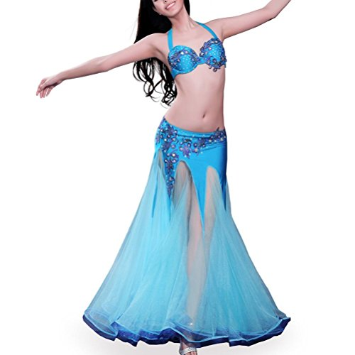 YuLin Belly Dance Costume For Girls Professional Performance Dancewear Set Fairy Fancy Skirt 2 Pcs, Blue, (Contemporary Dance Costumes For Boys)