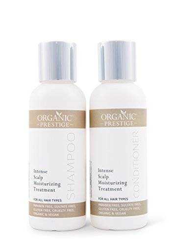 Luxury Shampoo and Conditioner SET (4 oz) - Natural, Organic Dandruff, Moisturizing, Volume, Psoriasis, Hair Loss, Detangler, Split Ends, Itchy Scalp, Sulfate Free, Paraben Free by Organic Prestige