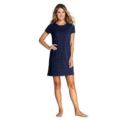 Lands' End Women's Jacquard Terry T-Shirt Dress Swim Cover-up, L, Deep Sea