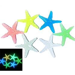Zeroyoyo 10pcs Glow Starfish Stones Colorful in the Dark for Aquarium Fish Turtle Tank Landscape Bottom Decoration Ornament