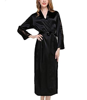 Assky Women's Lightweight Satin Sleep Robe Kimono Gown, Bathrobe For Women Long Style
