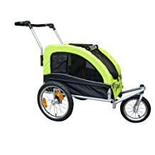 Booyah Medium Dog Stroller & Pet Bike Trailer and with Suspension - Florescent Green
