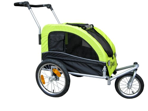Booyah Medium Dog Stroller & Pet Bike Trailer and with Suspension – Florescent Green