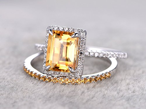2pcs Solid 14k White Gold Citrine Wedding Rings Set,6x8mm Emerald Cut Natural VS Yellow Citrines Gemstone Diamonds Band Halo Claw Ring,Half Eternity Pave Citrine Anniversary Matching Band