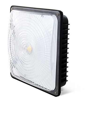 Hyperikon 70W LED Canopy Light  350W HPSHID Replacement 5000K Crystal White Glow 5900 Lumens 95 x 95 Waterproof and Outdoor Rated DLC-Qualified and UL-Listed