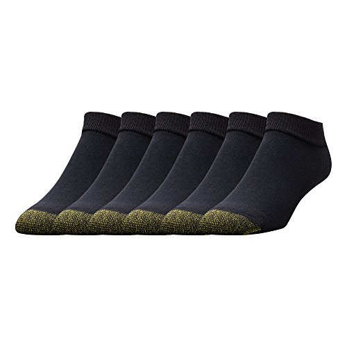 Gold Toe Men's 6-Pack Cotton Low Cut Sport Liner Socks, Black, 10-13 (Shoe: 6-12.5) (Toe Socks Cotton Gold)