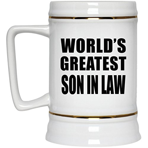 World's Greatest Son In Law – Beer Stein Ceramic Beer Mug Best Funny Gag Gift Idea for Family Friend Birthday Bday Christmas Xmas Wedding Anniversary Review