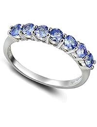 Sterling Silver Tanzanite Half Eternity Band Ring