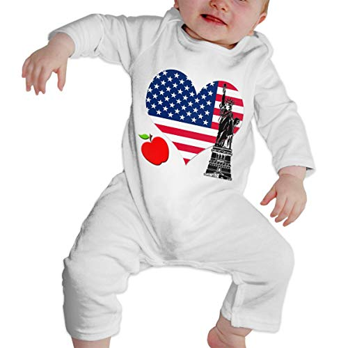 New York Baby Gown - New York Unisex Long Sleeve Baby Gown Baby Bodysuit Unionsuit Footed Pajamas Romper Jumpsuit White