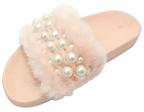 Cambridge Velg Kvinners Faux Fur Perle Slip-on Flat Lysbilde Sandal Rosa