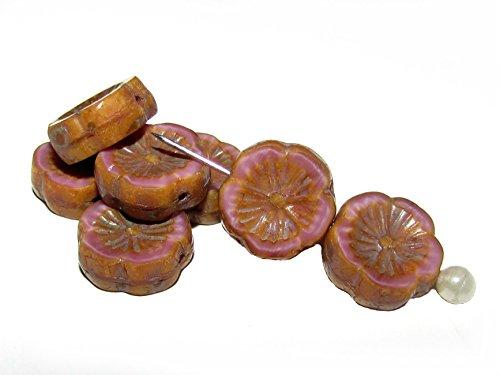 6pcs Czech Glass Beads Table Cut Flower 12 mm Pink Silk Picasso