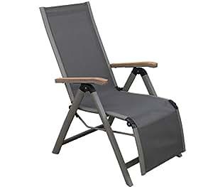 Dehner Colmar Silla de Relax Plegable, Aprox. 110x 59x 73cm, Tela, Aluminio y Madera de Teca con Certificado FSC, Color Gris