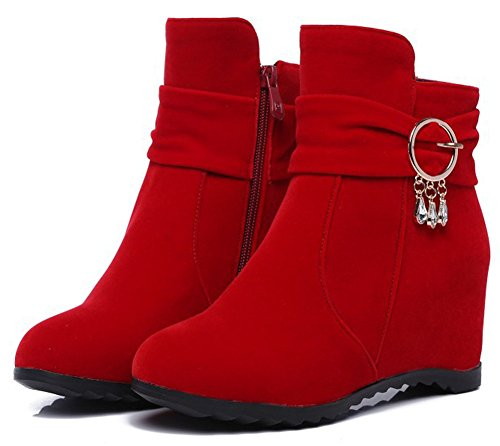 Heels Suede Pull High Idifu Inside Mid Ankle Red Wedge Faux Booties Warm On Womens 68AAqxwHS