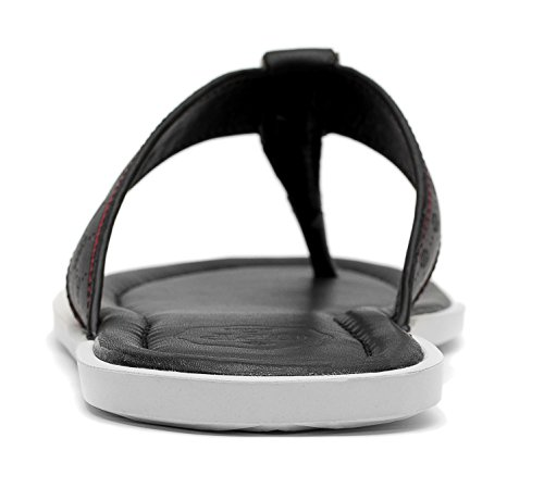 Opp Mens Casual Läder Sandal Mode Vippor, Svart, 7 D (m) Oss