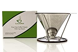 Stainless Steel Pour Over Coffee Maker - Pour Over Coffee Dipper - Reusable Drip Coffee Maker - Reusable Paperless Coffee Filter and Brewer with Coffee Maker Stand by LuvLifeWell