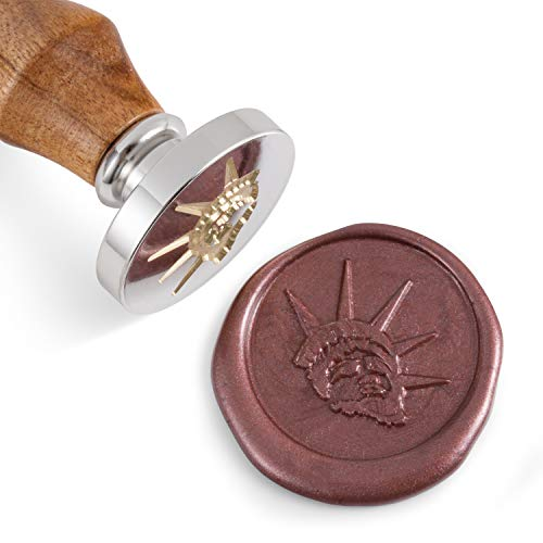 - Mceal Wax Seal Stamp,Silver Brass Head with Rosewood Handle, 1.2