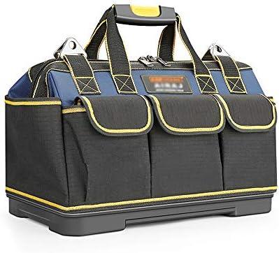 21インチツールトートバッグ、16のツールポケット、厚いオックスフォード布、防水プラスチックシート、多機能収納袋、電気大工用、黒