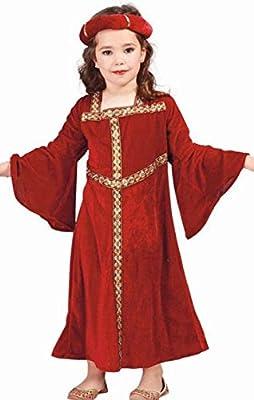 Guirca Rudy Disfraz Dama Medieval niña, Color Rojo, 7 – 9 años ...