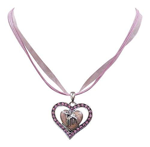 Trachtenschmuck Dirndl Herz Kristall Collier -Anhänger Kette mit Reh / Rotwild (Rose / Rosa)