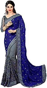 Nivah Fashion Women's Satin & Net Embroidery Saree with Blouse Pie