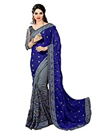 Nivah Fashion Women's Satin & Net Embroidery Saree with Blouse Piece(K608)