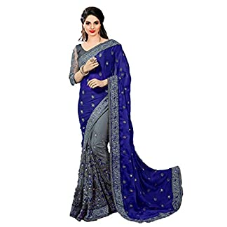 Nivah Fashion Satin & Net Embroidery Half & Half Saree with Blouse Piece(K608) 41Wz cSswnL