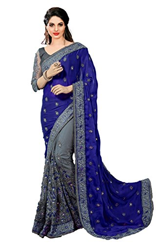 Nivah Fashion Women's Sattin & Net Half N Half Embroidery work With Real Diamond's Saree K608(Blue)